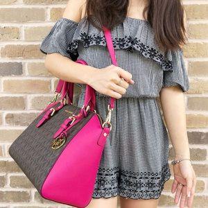 5c287f2ace36ba Michael Kors Bags - Michael Kors set large Ciara brown MK Pink Satchel